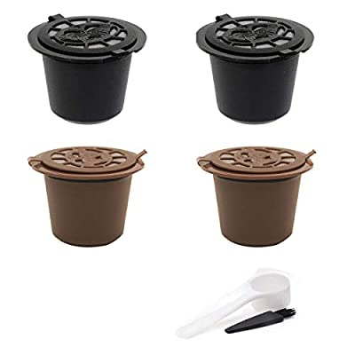 Refillable Reusable Coffee Capsule for Nespresso Pack of 4 with Plastic Spoons and Cleaning Brushes