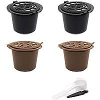 4Pcs Cápsulas de Café Filtros Cestas Plástico Acero Inoxidable Reutilizable Pods para Nespresso Cuchara