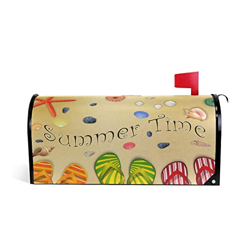 Wamika Summer-Time-Beach-Seaa-Shore Briefkasten-Abdeckung, wetterfest, magnetisch, verblasst Nicht, wetterfest, dekorative Briefkastenfolie, 64,7 x 52,8 cm