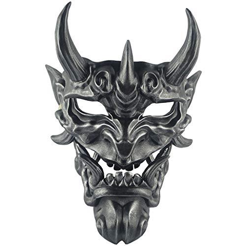 rote Hannya Maske Halloween Horror Teufel Cosplay Maske Buddhismus Prajna Ghost traditionelles Thema Party Harz Maske Kunsthandwerk Handwerk hängende Verzierung,Black-OneSize ()