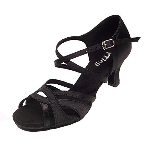 Zapatos de Baile de salón para Mujer Zapatos de Baile Latino de Salsa Bachata actuación(42, Black)