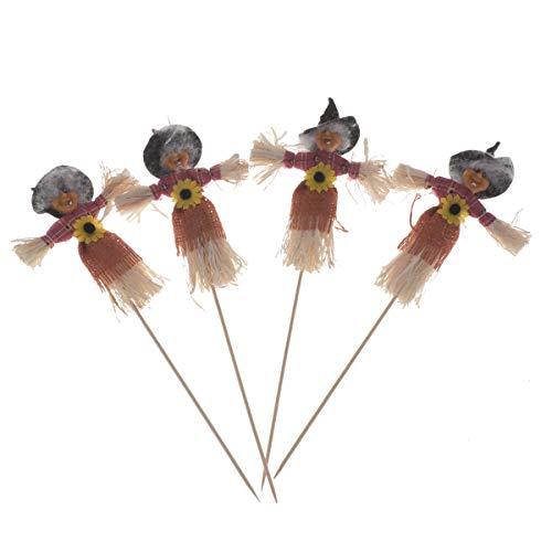 Fenical Halloween Vogelscheuche Ornamente Große Kuchendeckel Voodoo Stroh Puppe Einsatz Party Kürbis Blume Picks 4 stücke (Gelegentliche Stil)