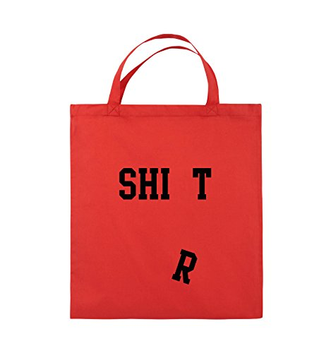 Comedy Bags - SHIRT - FALLENDES R - Jutebeutel - kurze Henkel - 38x42cm - Farbe: Schwarz / Silber Rot / Schwarz