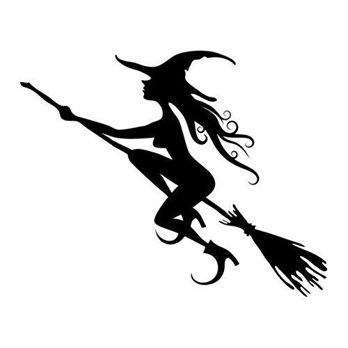 Thema Dark Style Vinyl Wandtattoo schwarz–Hexe, Reiten einen Besen (44* 51cm)–Inspiriert Art Wand Aufkleber Wandbild für Wohnzimmer Home Halloween Atmosphäre Dekorationen Decor Szene, Layout (Halloween-dekoration Verkauf)