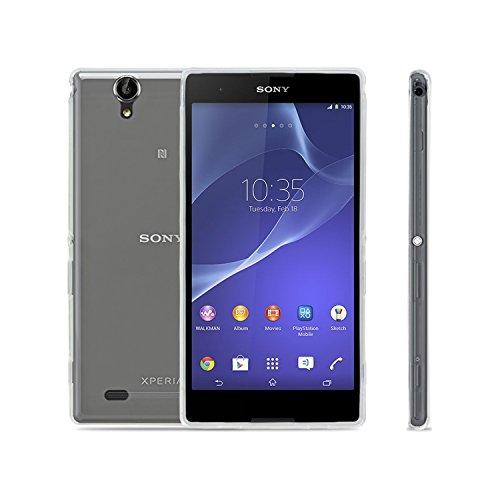Vada-Tec Sony Xperia T2 Ultra Hülle Silikon Case - dünne durchsichtige Transparente Schutzhülle TPU Cover klar in Transparent