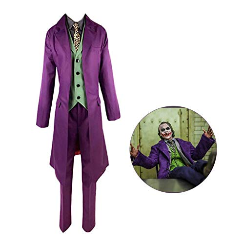 Xuyingyi The Dark Knight Joker Kostüm Hemd Weste Krawatte Handschuhe Mantel Anzug Halloween Kostüm für Männer Frauen