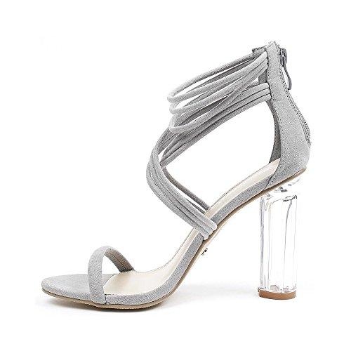 Ideal Shoes , Sandali donna, grigio (grigio), 39