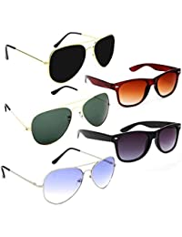 Elligator Aviator Men's Wayfarer Sunglasses(Multicolour) Combo of 5