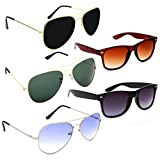 Elligator Aviator, Wayfarer Sunglasses combo of 5