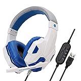 Komfortables, Immersives USB-Stereo-Gaming-Headset, Headset Mit Mikrofon Für Pc-Spiele, Rauschunterdrückung, Stummes Mikrofon - Weiß Blau Kopfhörer