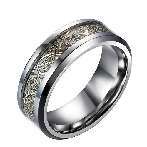 XBYMEN Herren 8mm Schwarze Carbon Faser Schwarz Celtic Dragon Lichteffektring Band Glow in The Dark