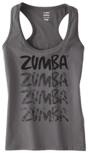 Zumba Fitness Racerback Feel The Thrill - Top de zumba para mujer - Z1T00185-XS-GMTL, XS, Gris plomizo