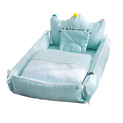 Lit Anti-Pression Berceau Lit d'enfants Multifonctions Portable Matelas De Couchage Confortable Lit Bionique Nid De Câlins (Color : Green, Size : 88x55x33cm)