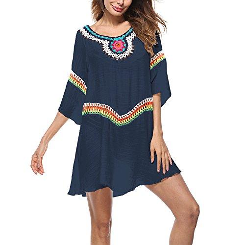SELUXU Vestido de Playa Encaje Traje Ropa de Baño para Mujeres Camiseta Manga Murcielago Boho Hippie Camisolas y Pareos Bikini Cover Up Tunica Talla Grande