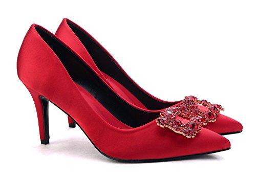 uBeauty - Escarpins Femme - Chaussures Diamant Luxe - Escarpins Grande Taille - Chaussures Stilettos Rouge