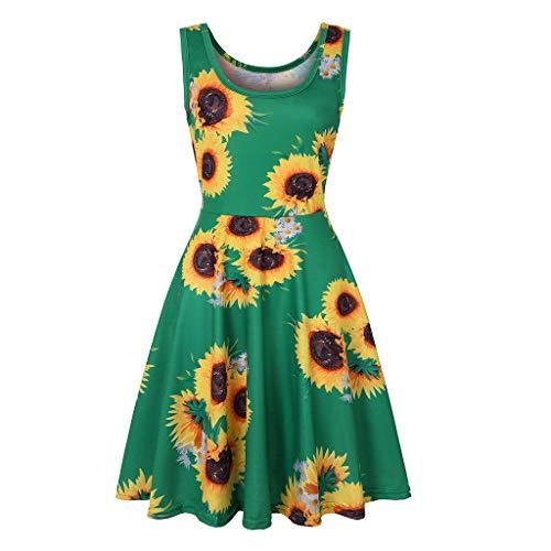 Wawer Frauen Vintage Faltenrock Sonnenblume Druck Minikleid Bodycon Sleeveless Cocktailkleide Lässige Abendgesellschaft Prom Swing Rockabilly Kleid