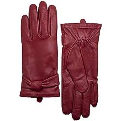 """YISEVEN Guantes de piel de cordero de cuero de las mujeres suaves del invierno 100% Traje de motocicleta de conducción caliente puro forro térmico para el uso diario Tango Rojo 7.0""""/M"""