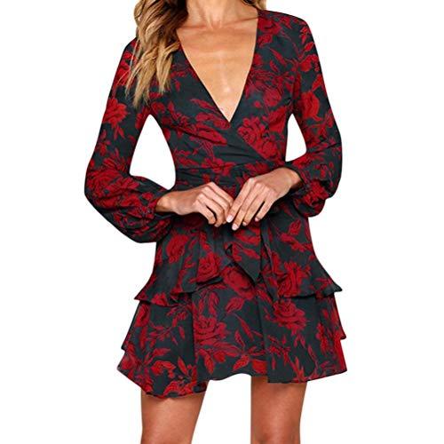 Herbst Kleider Damen Schöne Kleider Minikleid Strandkleid Frauen V-Ausschnitt Casual T-Shirt Kleid Langarm Lose Druck Kleid Mode Riemchen Rüschen Blusenkleid Shirtkleid Freizeitkleid Leey