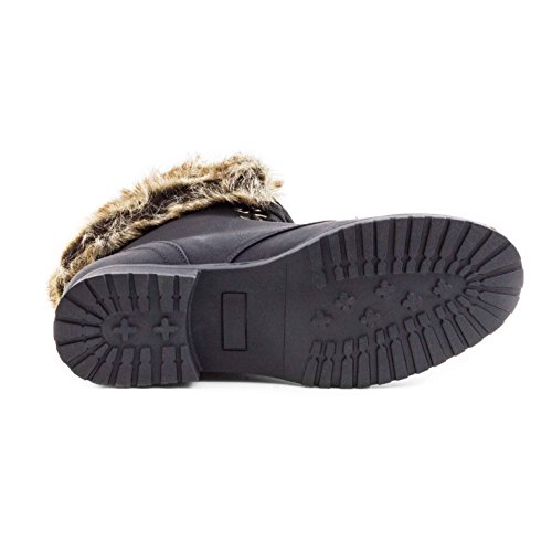 In Paris Mit Winter Warm Kunstfell Schwarz Lederoptik Schnür Boots Stiefel Damen Schuhe Gefüttert 0CXwX7