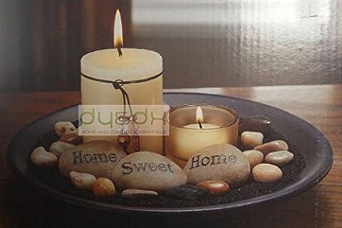 New Essence Candle Set Home Sweet Home Polished Stones Pillar Candle Votive Decor