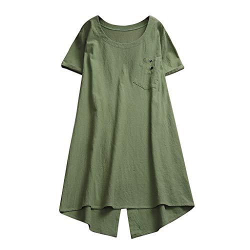 Andouy Damen Tunika Lagenlook Solid Pocket Kurzarm Top Größe 40-48 Hemdkleid Lange Bluse(XL(46),Grün)