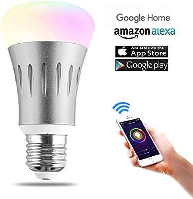 Unitify Smart Wifi bombilla LED funciona con Alexa Amazon Echo & Google casa temporizador bombilla E27/E26 automatización del hogar cambia de color, intensidad regulable, calendario, escena opciones, …