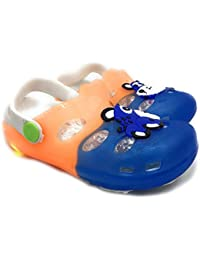 TeeniTiny Light Clogs For Baby Boys & Girls - Pink, Blue & Orange (2 Years To 5 Years)