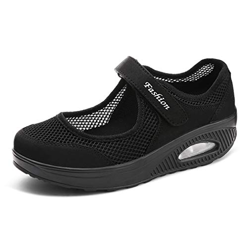 Walking Sandalen (Sandalen Damen Freizeitschuhe Keilabsatz Leicht Walking Schuhe Plateau Turnschuhe Mesh Fitness Sneaker Laufschuhe Sommer Atmungsaktiv Espadrilles ,1-schwarz,40 EU)