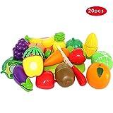 Buyger 20 Stück Kunststoff Schneiden Obst Gemüse Küchen Lebensmittel Rollenspiele Pädagogisches Spielzeug Kinder