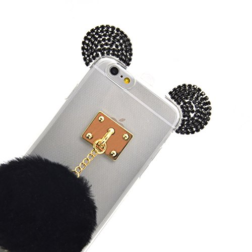 iPhone 6 6S Luxury 3D Coque Housse ,Vandot Bling Diamant Crystal Etui pour iPhone 6 6S TPU Bumper Design Soft Cover Girl Lady Etui iPhone 6 6S 4.7 Pouces Housse Case Couverture + Fashion boule de chev Oreille-Noir