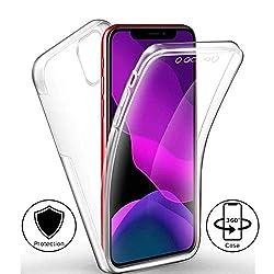 Mkej 360° Transparent Schutzhülle kompatibel mit iPhone 11 (6.1), 360 Grad Rundum Weich TPU + Schwer PC Doppel-Schutz Cover [Vorne + Hinten geschützt] Silikon Crystal Hülle