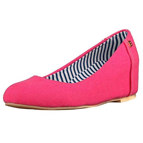 COOLCEPT Ladies Espadrilles Dolly Schuhe Freizeit Niedrige Keilabsatz Pumps Rot