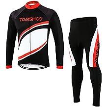 TOMSHOO Ropa Deportivo Hombre - Jersey de Manga Larga y Zip Completo+ Pantalones Cortos Cómodo Respirable Secado Rápido - Primavera y Otoño Conjunto de Ropa de Ciclismo para Bicicleta de Montaña