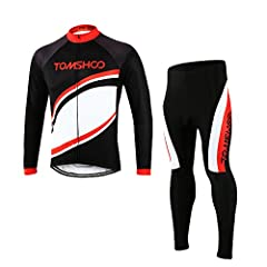 Idea Regalo - TOMSHOO Completo Ciclismo Abbigliamento Set, Manica Lunga Antivento Ciclismo Maglia + 3D Lunga e Pantaloni per Uomo Inverno Termico Vello