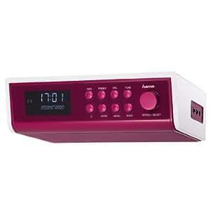 Hama Internetradio IR320 (ideal für Küche und Werkstatt, als Unterbauradio oder mit Standfunktion verwendbar (Weckfunktion und WLAN)) magenta
