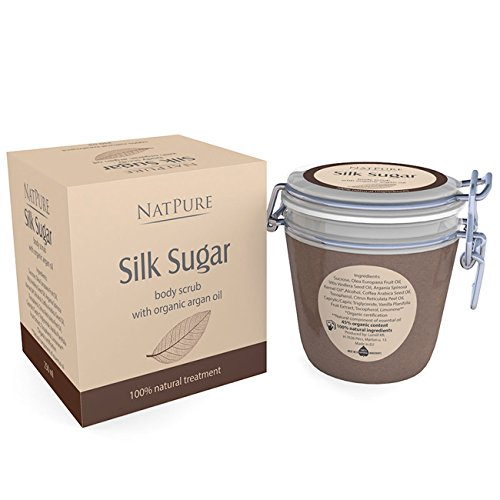 NatPure Silk Sugar body scrub 100% Naturkosmetik Körperpeeling Braunzucker Arganöl 250ml