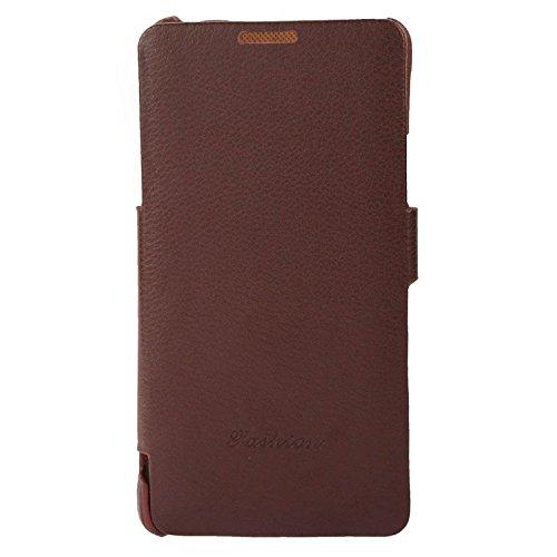 wkae Schutzhülle Case & Cover Litchi Textur Horizontal Flip Echt Leder Schutzhülle mit Fashion Logo für Samsung Galaxy Note 4/N910 coffee