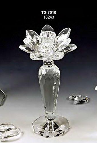 Oggettistica per bomboniere candeliere candelabro medio fiore da 19 cm in cristallo swarovski made in italy