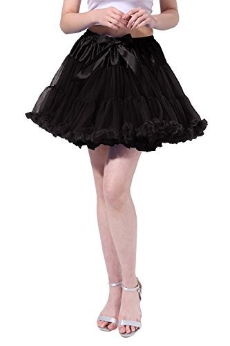 Poplarboy Damen Kurz Tüll Vintage Petticoat Reifrock Mehrfarbengroß Unterröcke Braut Crinoline Ballett Blase Tutu Ball Kleid Underskirt S-M Schwarz (1950 Halloween Kostüm Ideen)