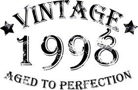 Mister Merchandise Tote Bag Vintage 1998 - Aged to Perfection 17 18 Borsa Bagaglio , Colore: Nero Naturale