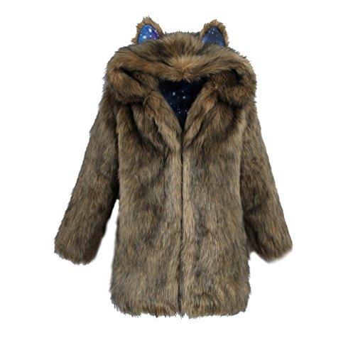Yuandian donna inverno casual lungo pelliccia sintetica cappotti con cappuccio cappello dell'orecchio baggy morbido caldo elegante ecologica finta pellicce giubbotto marrone s