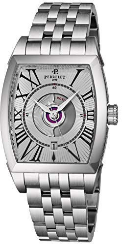 Perrelet Men's Steel Bracelet & Case Automatic Silver-Tone Dial Watch A1029-A