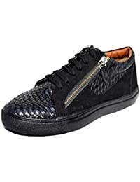Wolven Black Sude Leather Side Zip Sneakers With Black TPR Sole