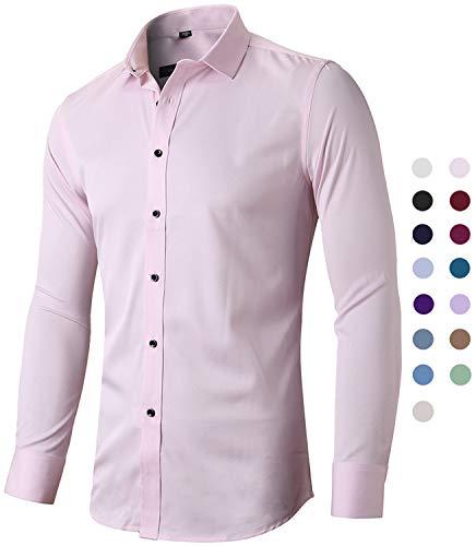 Harrms Camicia Elastica di bambù Fibra per Uomo, Slim Fit, Manica Lunga Casual/Formale, Rosa, 39 (Collo 39CM, Petto 100CM)