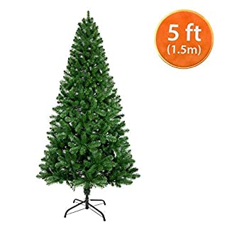 ANSIO Christmas Tree 5ft / 1.5M Artificial Christmas Trees Metal Stand 100% Virgin Fire Retardant PVC Tips