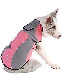 FOSINZ Chaquetas para Perros a Prueba de Agua Reflectante Transpirable Ligero Ajustable Velcro Impermeable para…