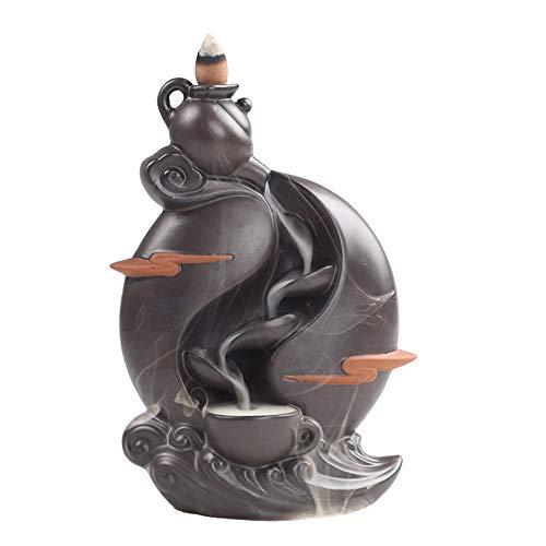 FFDGHB Keramik HaushaltsrüCkfluss Duftenden Kegel Kerzenbrenner Wasserfall RüCkkehr Weihrauch Brenner (Meditation Yoga) Bergwasser Ornamente 19 * 13 cm