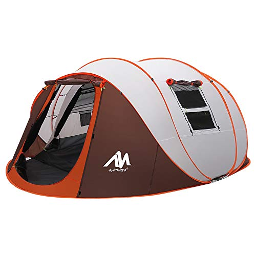Zelt 4-6 Personen Wasserdicht, Pop up Zelte Familienzelt [5 Fenster] Riesiges Camping Zelt Doppelwandig Wurfzelt Shelter 6-Mann Zelt mit Vorraum für Outdoor Sport Picknick Wandern Reisen Strand