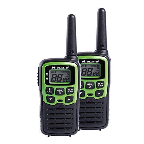 Midland XT30 PMR-Funkgerät für Einsteiger mit Akku und Ladekabel, Walkie Talkie mit hervorragender Sprachqualität, Farbe: grün