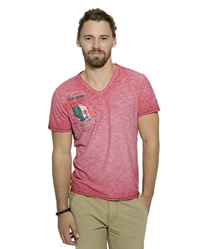 Tropical Camp-shirt (Camp David T-Shirt V-Neck Tropical Trail Tropical Coral CCG-1804-3455 (XXL))